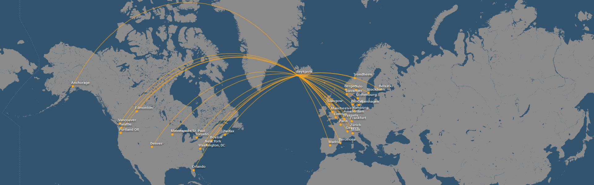 Example Iceland Air routes to Iceland